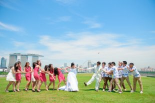marina barrage wedding picture