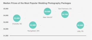 This picture reveals the median price of popular wedding photographers across a few urban centers inside U.S.